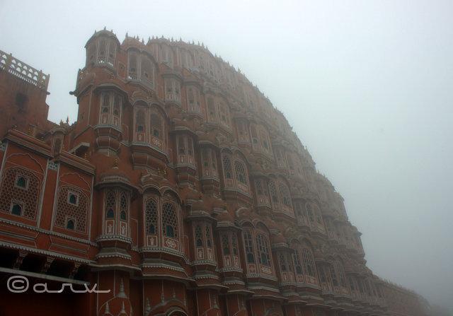 Hawa Mahal in fog, Jaipur