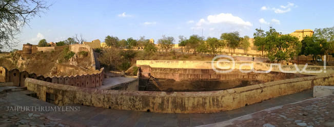 nahargarh-fort-baori-in-jaipur-conservation-rain-water-harvesting-technique-during-water-walk-panorama-shot