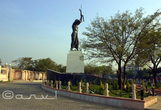 arjuna of mahabharata statue in jaipur at sms stadium
