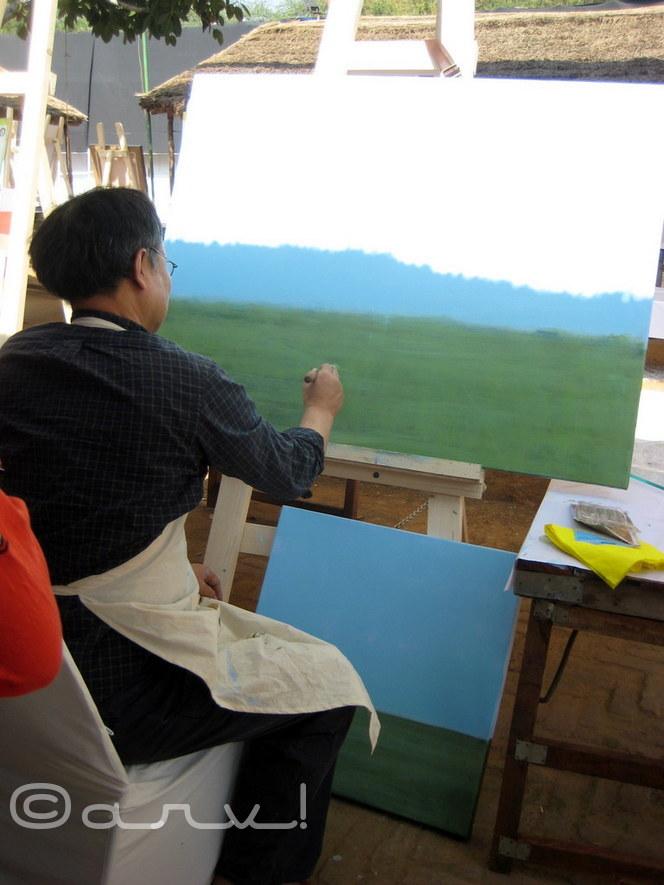 Eelkwon-Kim-painter-in-jaipur-art-summit-at-jawahar-kala-kendra