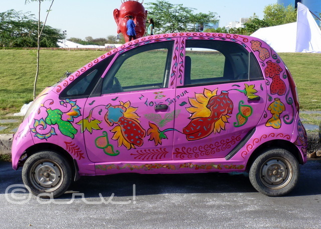 : hand-painted-tata-nano-in-pink-color-at-cartist-exhibition-jaipur