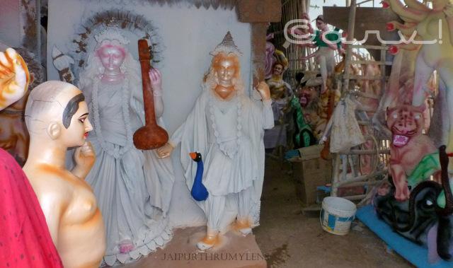 idols-of-god-durgapuja-celebration-jaipur-bengali-workers
