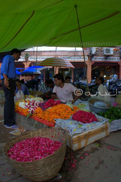 Flower seller at badi chaupar johari bazaar jaipur