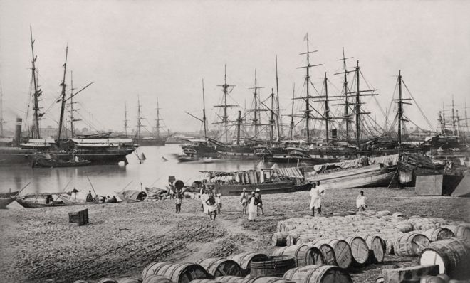 calcutta-harbor-vintage-picture-samuel-bourne-1860