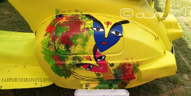 ethnic painting of scooter at cartist jaipur jaipurthrumylens