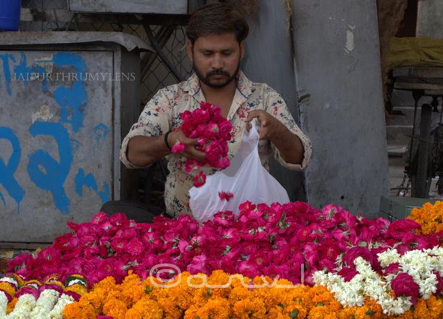 street-scene-in-jaipur-flower-seller-badi-chaupar