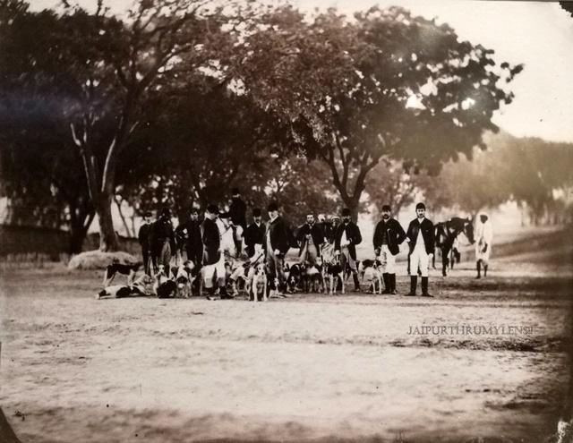 british-hunting-group-jaipur-vintage-picture-sawai-ram-singh-ii